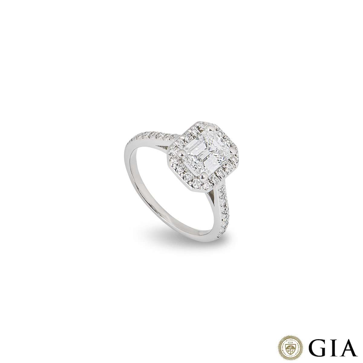 Platinum Emerald Cut Diamond Ring 1.21ct D/VVS2